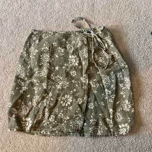 The Limited Army Green Tie Wrap Skirt